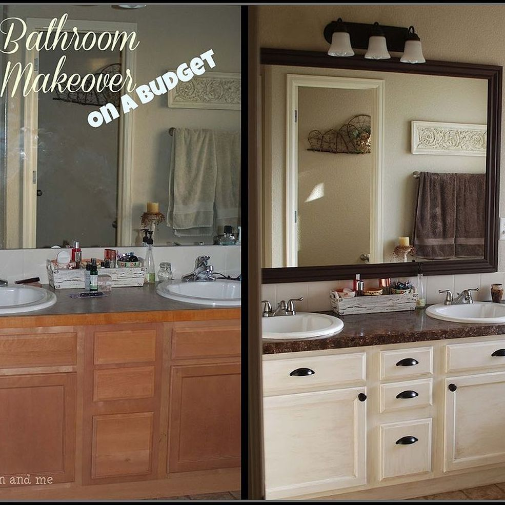 Master bath budget friendly makeover vanities cabinets for Master bathroom on a budget