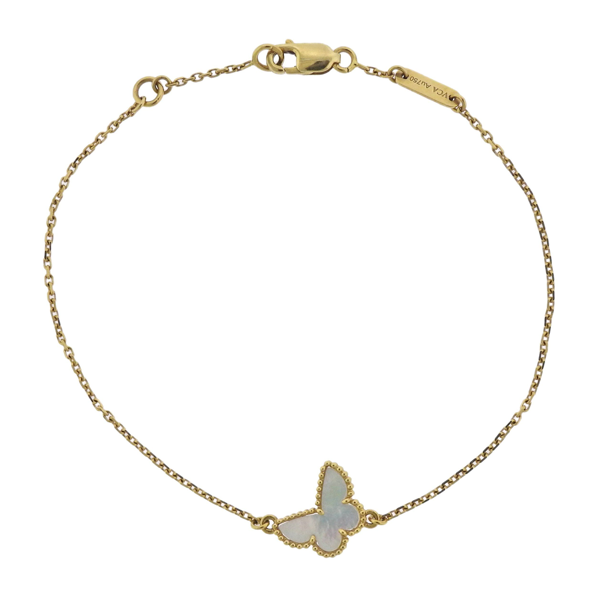 Van cleef u arpels sweet alhambra mother of pearl butterfly gold