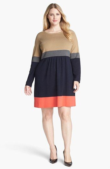 I Think I Like This Eliza J Colorblock Sweater Dress Plus Size
