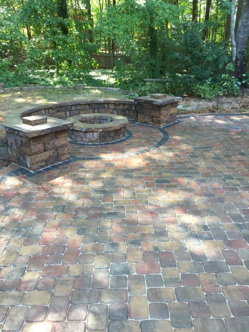 Nice Pavestone Paver Patio, Fire Pit And Seat Walls With Columns In Charlotte,  NC.