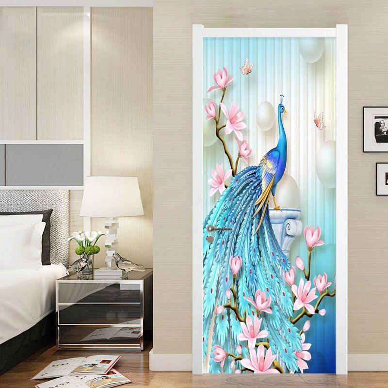 Diy mural waterproof wallpaper self adhesive peacock
