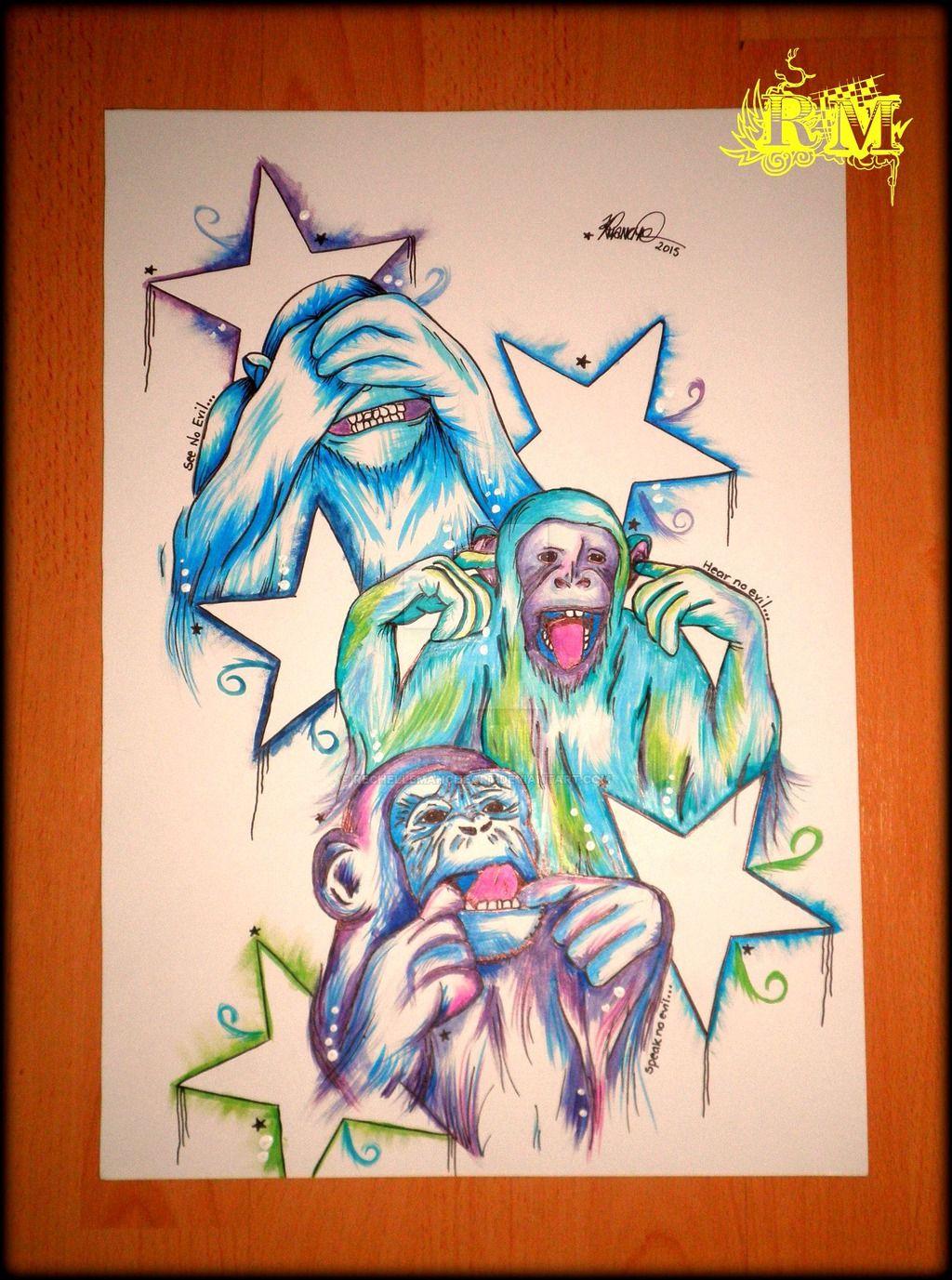 7aed18000 see no evil, hear no evil, speak no evil by RechelleMancheART.deviantart.com  on @DeviantArt #inspiration #quotes #art #artist #monkey #threewisemonkeys  # ...