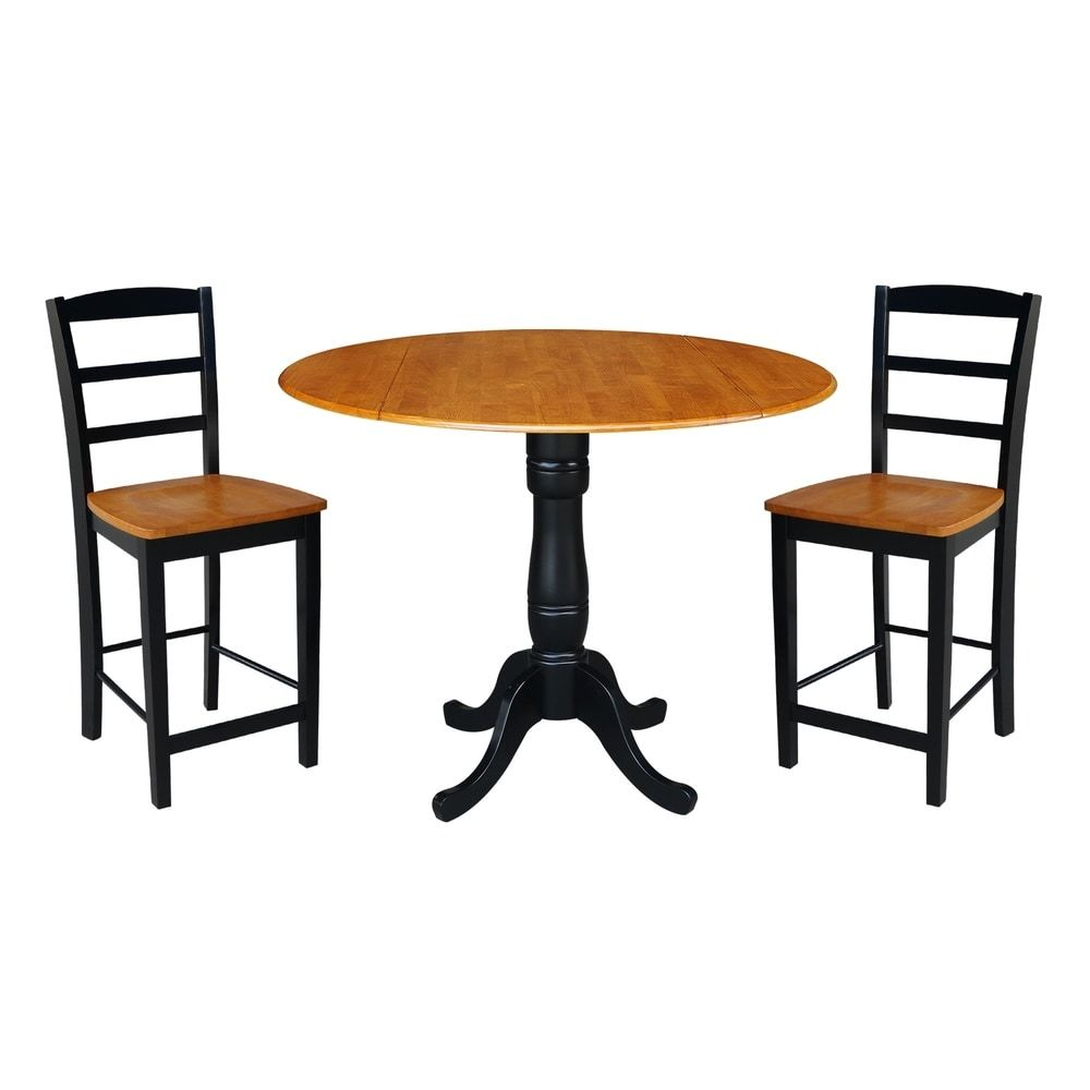 42 Round Pedestal Gathering Height Table With 2 Counter Height Stools Black Cherry In 2020 Counter Height Stools Wood Counter Stools Counter Height Dining Table