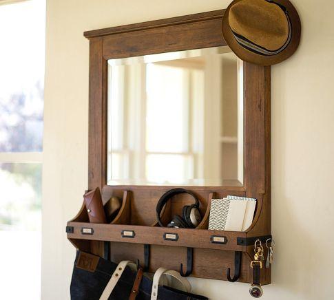 Entry Way Organizer Mirror With Shelf Hook Entryway