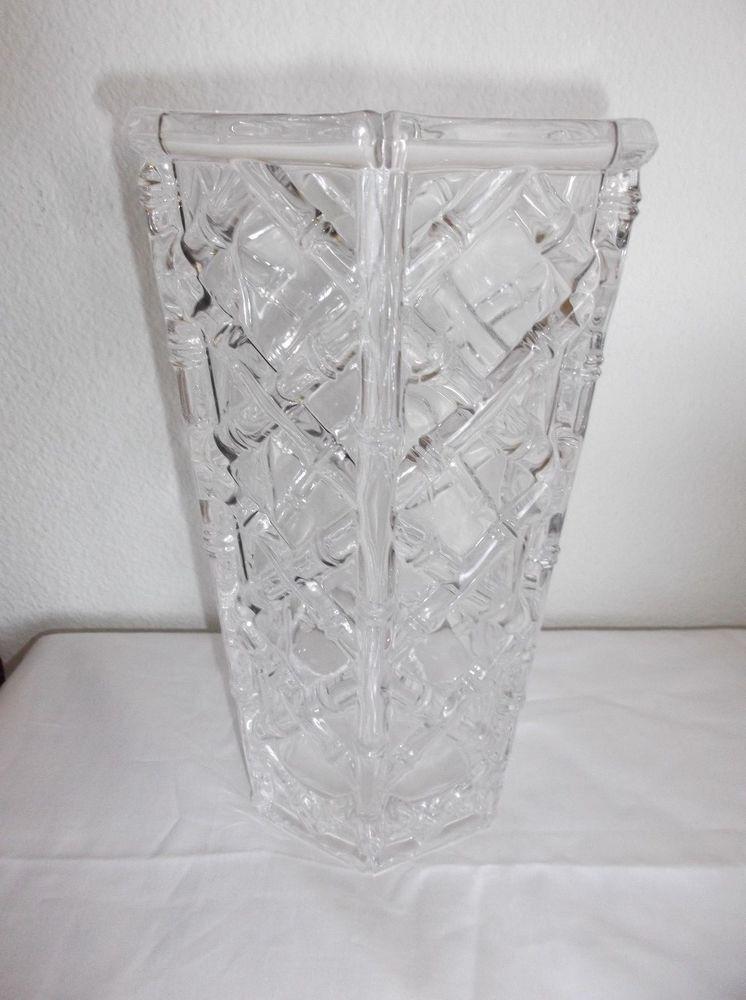 Large 10 Tiffany Co Crystal Bamboo Vase Hexagonal Flared