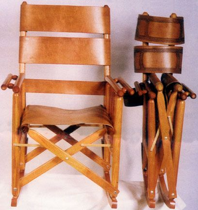 Folding Directors Rocking Chair Folding Leather Rocking