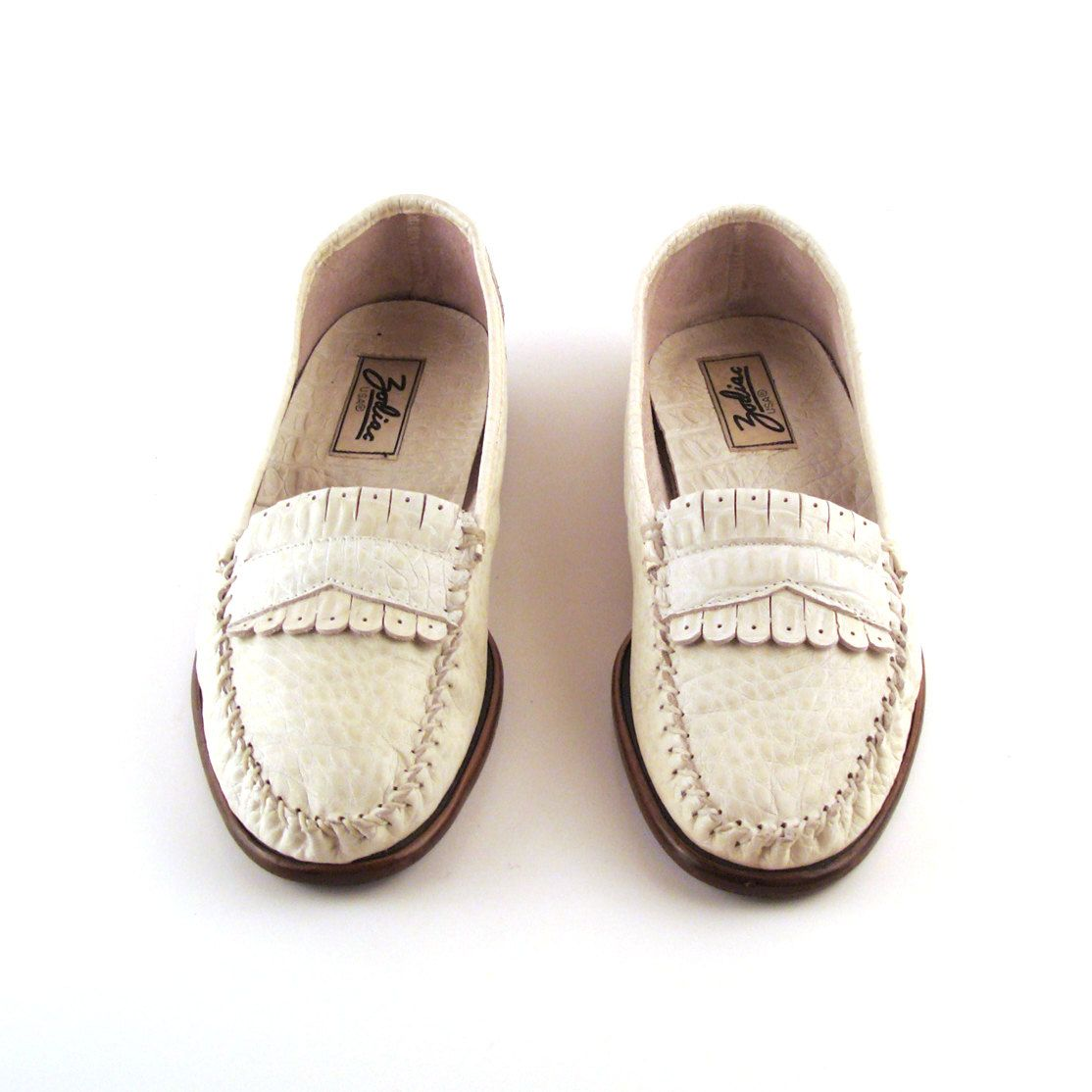 c79e1dd2a2a Zodiac White Loafers Vintage 1980s Mens Shoes Size 9 1 2