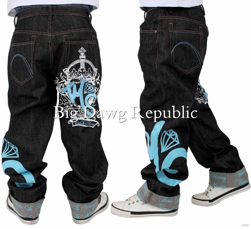 Is Money Time Loose Fit Hip Hop Star Skater G Men/'s Designer Jeans Rocawear