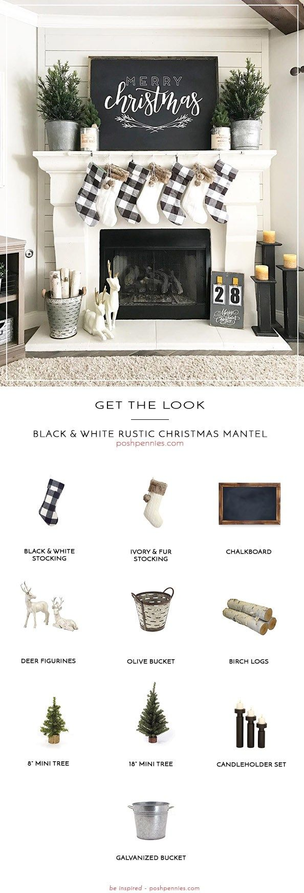 How To Create The Perfect Black & White Rustic Christmas Mantel #holidaydecor