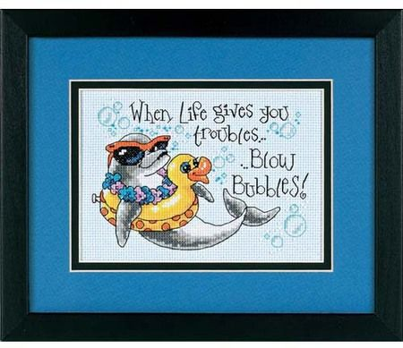 Dimensions Blow Bubbles Cross Stitch Kit. When life gives you troubles.. Blow Bubbles. With a carefree attitude like this, no wonder this dolphin looks so relax