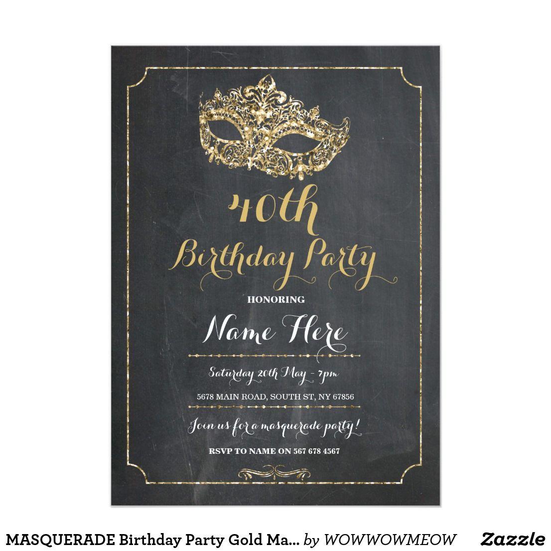 MASQUERADE Birthday Party Gold Mask Invite 40th 50 | Masquerade ...