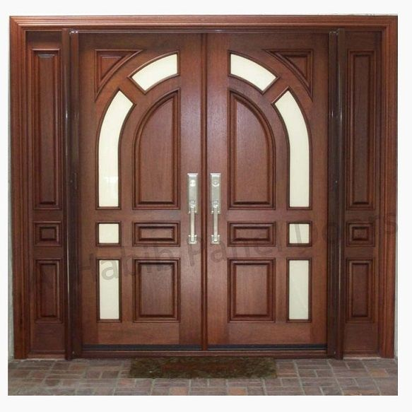 Solid diyar wood double door with solid sides frame hpd507 for Exterior wooden door designs