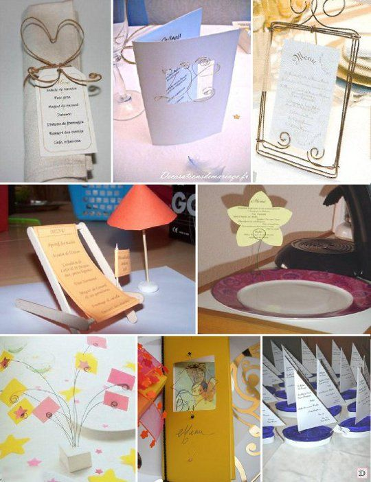 Idees menu mariage transat voilier fil metallique id es for Idee menu original