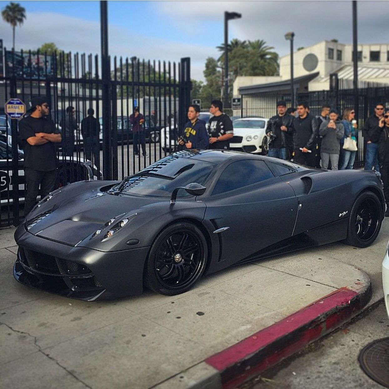pagani huayra painted in matte black photo taken by: @socal_exotics
