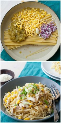 Creamy One-Pot Linguine with Chicken, Corn and Green Chiles