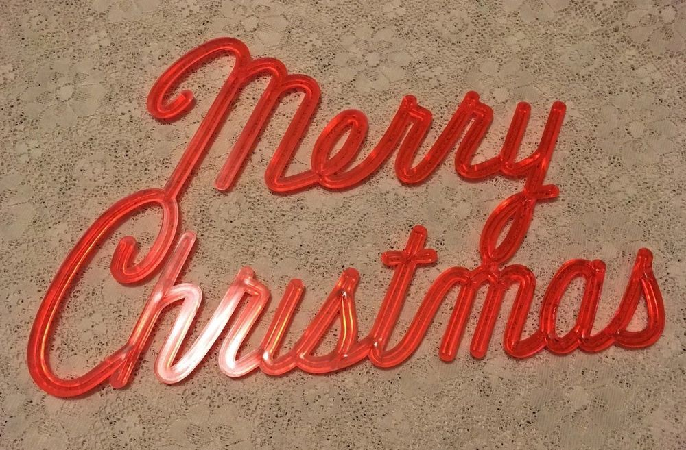 Antique Vintage 1960s Hard Plastic Merry Christmas Advertising Sign Translucent Christmas Advertising Vintage Christmas Decorations Advertising Signs