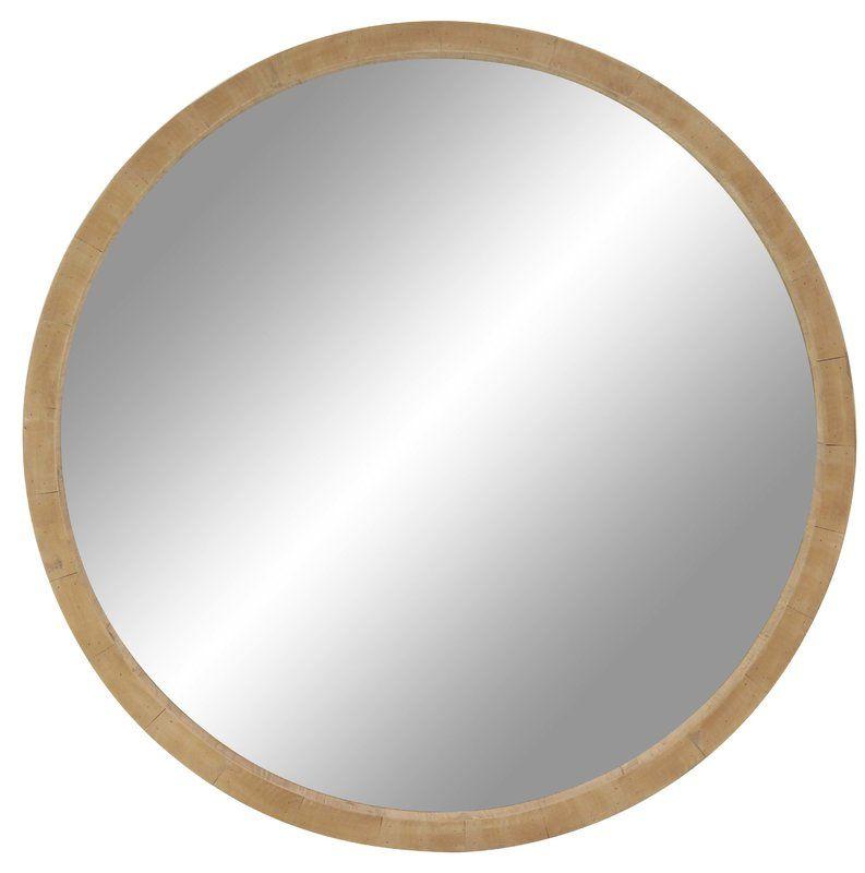 Leticia 40 Rustic Round Accent Mirror Wood Wall Mirror Mirror