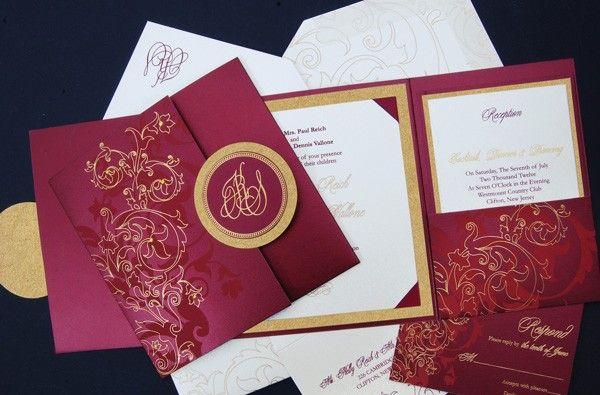 Fold Wedding Invitations: Square Tri-fold Pocket Wedding Invitation