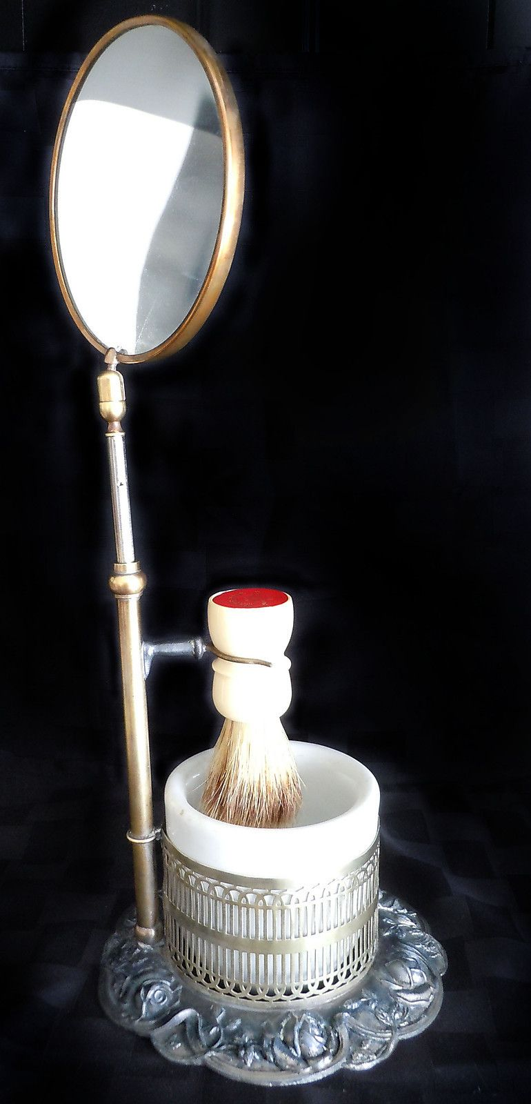 Antique Vintage Shaving Mirror On Stand W Brush White Bowl Cup Brass Silver Shaving Mirror Vintage Shaving Shaving Stand