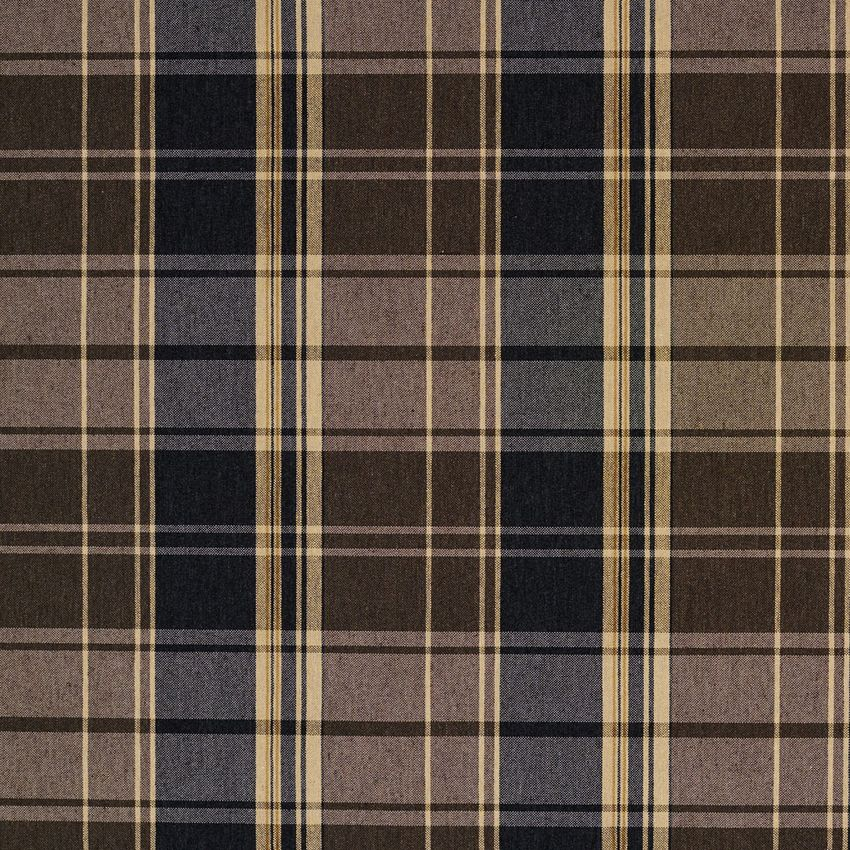 Black Gray Beige And Brown Plaid Country Damask Upholstery Fabric