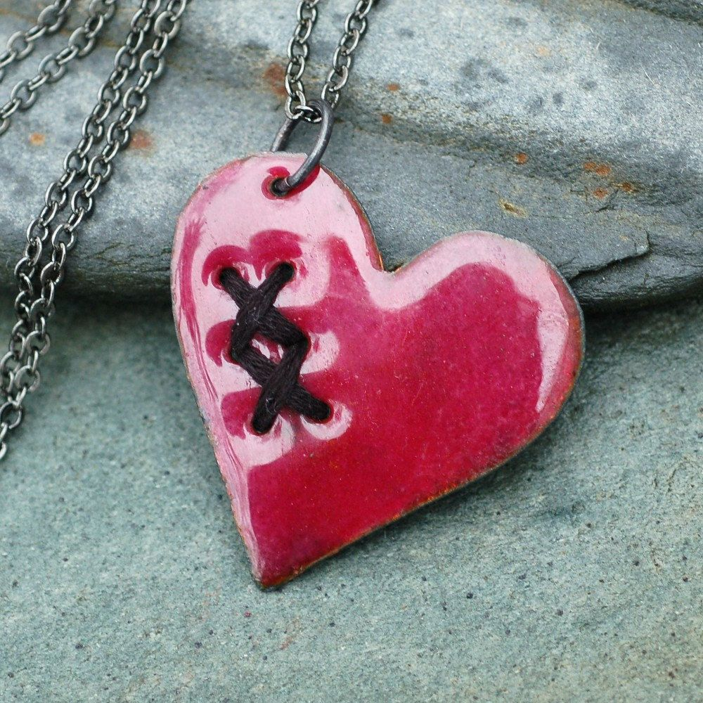 Valentine jewelry mended broken enamel heart pendant necklace copper