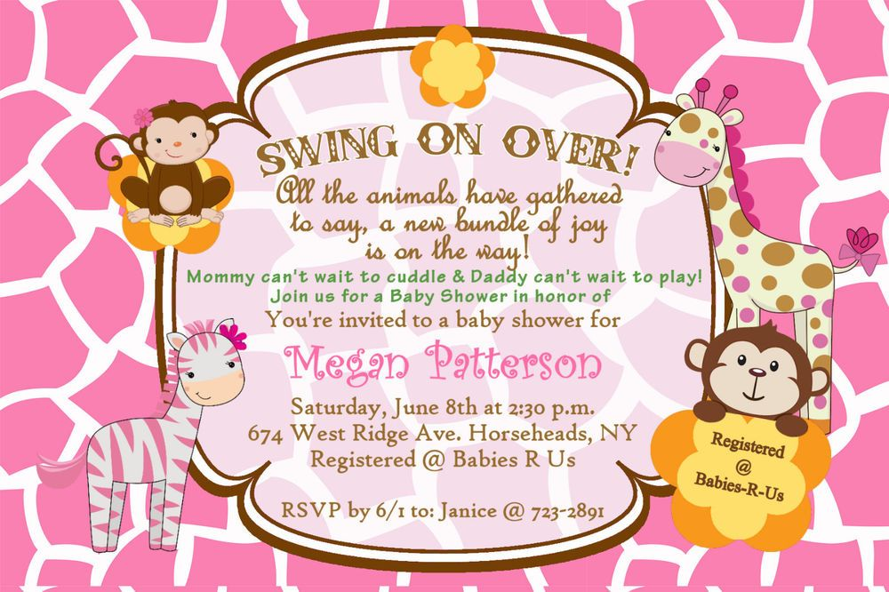 Monkey Jungle Baby Shower Invitations & Envelopes Pink Safari ...