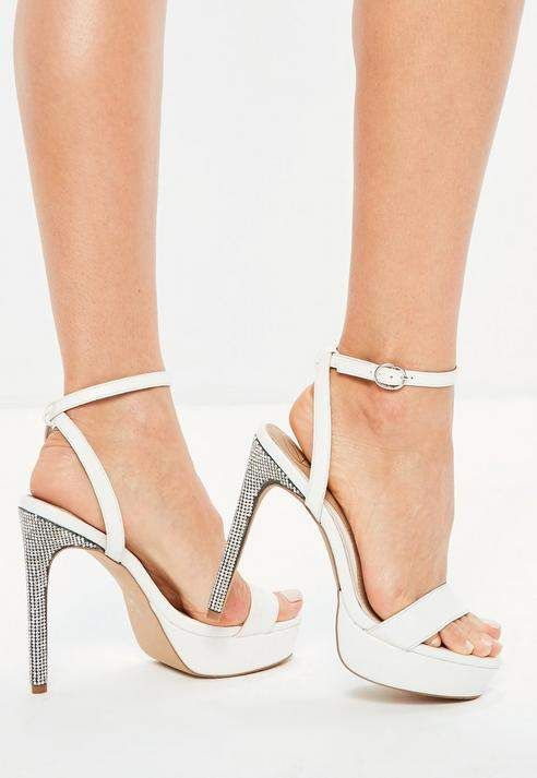 ee0111db121 White Diamante Platform Heeled Sandals  ad  newarrivals  shoes   shoesaddiction  heels Giuseppe
