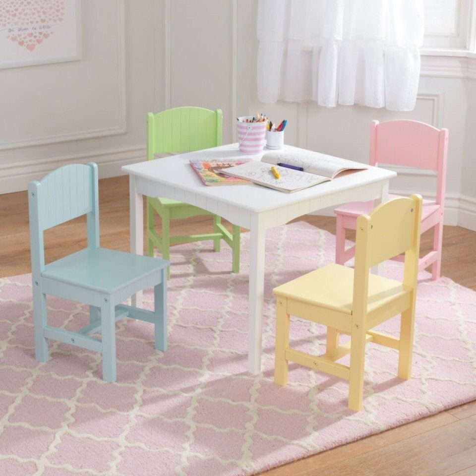 Kidkraft 26101 Kids Nantucket White Wood Table 4 Chairs Set