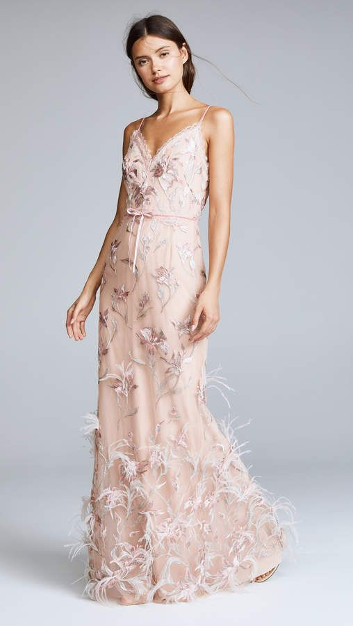 90fd6736002a Marchesa Notte Sleeveless V Neck Feather Embroidered Gown