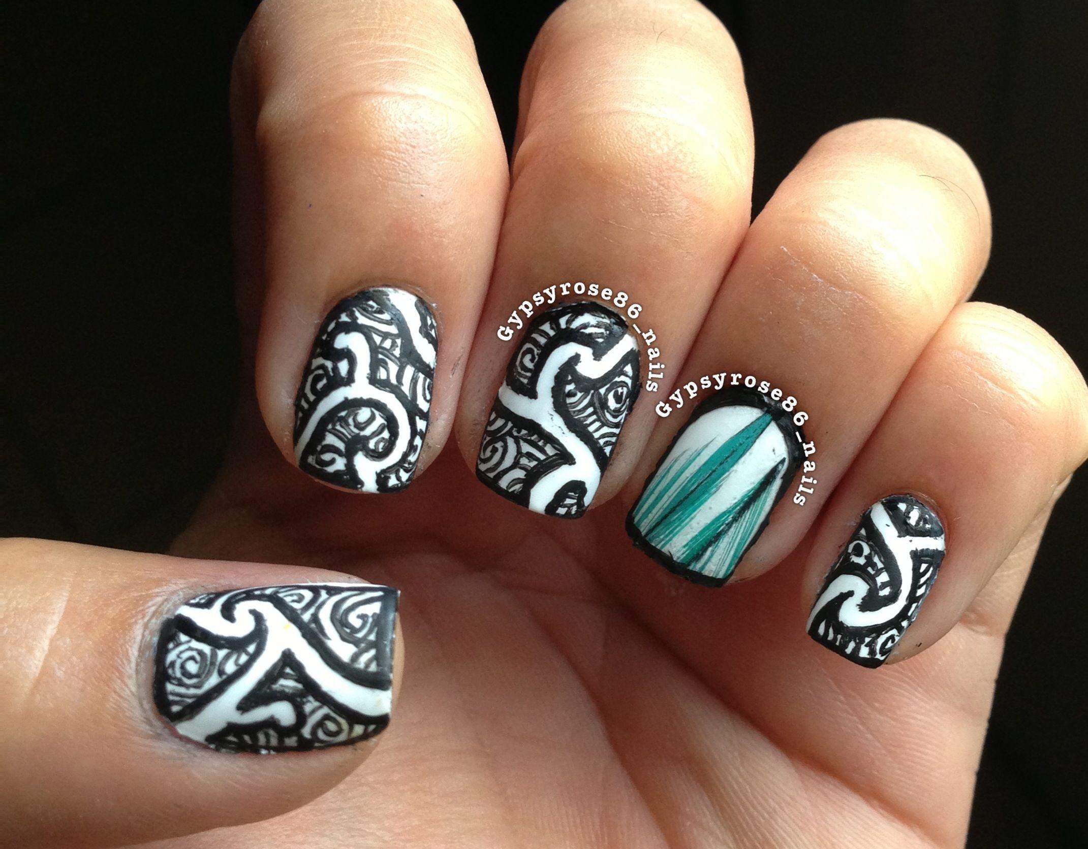 Maori inspired nails nail art