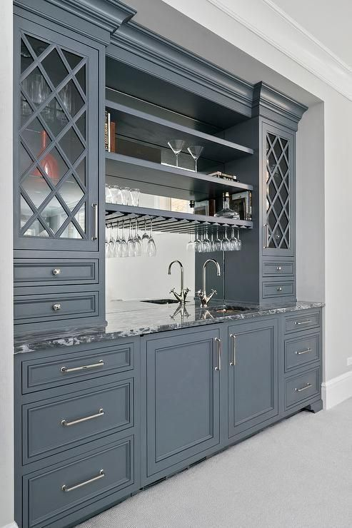 Gray wet bar cabinets painted in Benjamin Moore Ashland Slate are fitted with ni    #fitness #gray #...