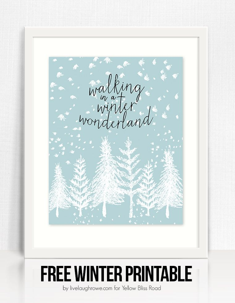 photo relating to Free Printable Christmas Signs identify Wintertime Wonderland Free of charge Printable Printables against Yellow