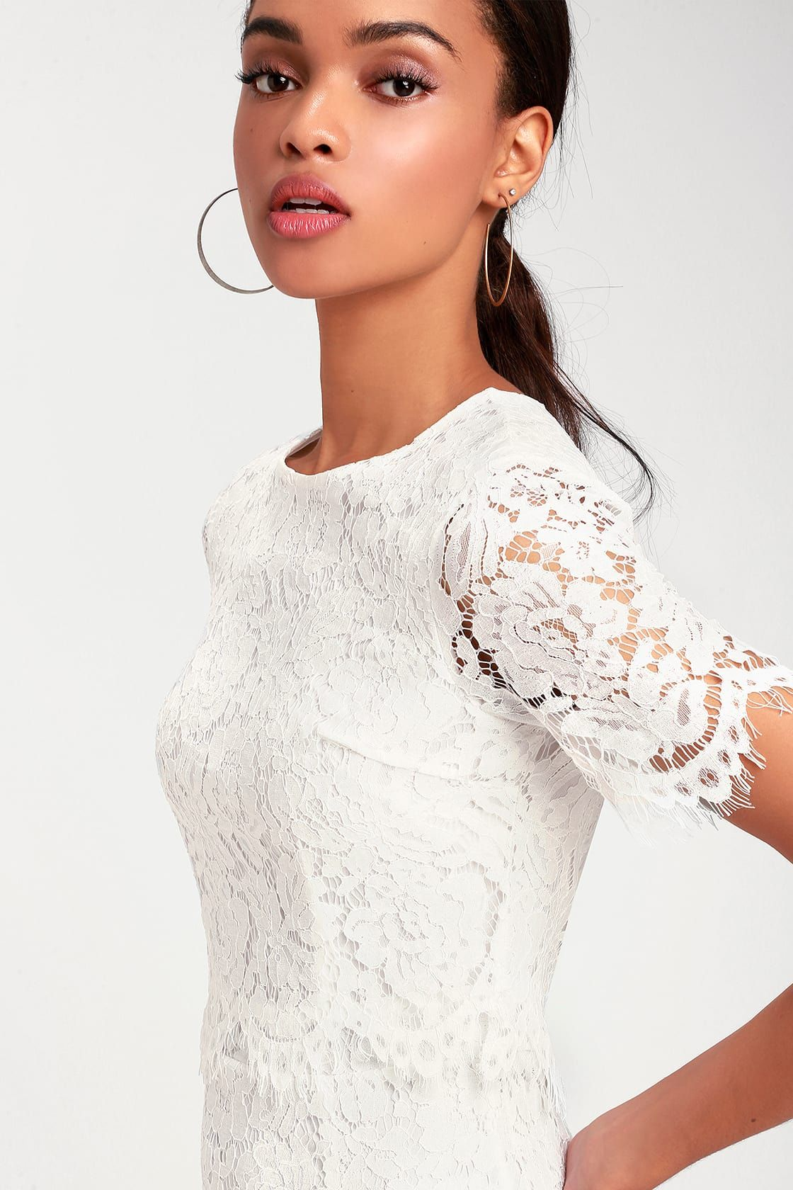Devotion white lace short sleeve midi dress white lace