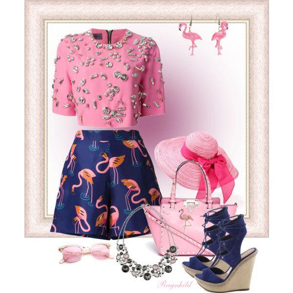 Printed Flamingo Shorts by ragnh-mjos on Polyvore featuring moda, Emanuel Ungaro, Delpozo, Schutz, Valentino, White House Black Market and Buccellati
