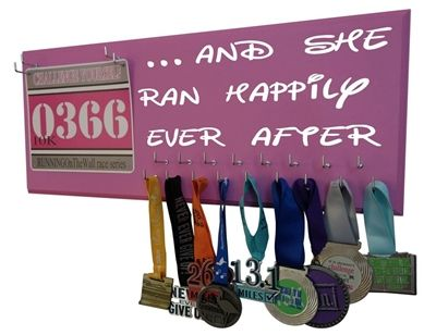 And she ran happily ever after run disney medal hanger display holder rack - $39.99