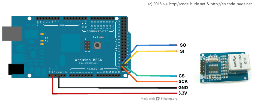 Arduino Mega 2560 mit enc28j60 verkabeln