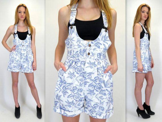 a943925e8a5a Vintage 90s Blue White Floral Print Denim Jean Overalls Romper Playsuit Bib  Overall Suspender Shorts Jumper 80s Shortalls by BlueFridayVintage