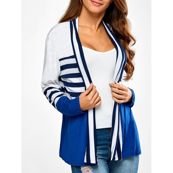 16.13$  Buy now - http://dird7.justgood.pw/go.php?t=200204404 - Ruffles Splicing Striped Cardigan