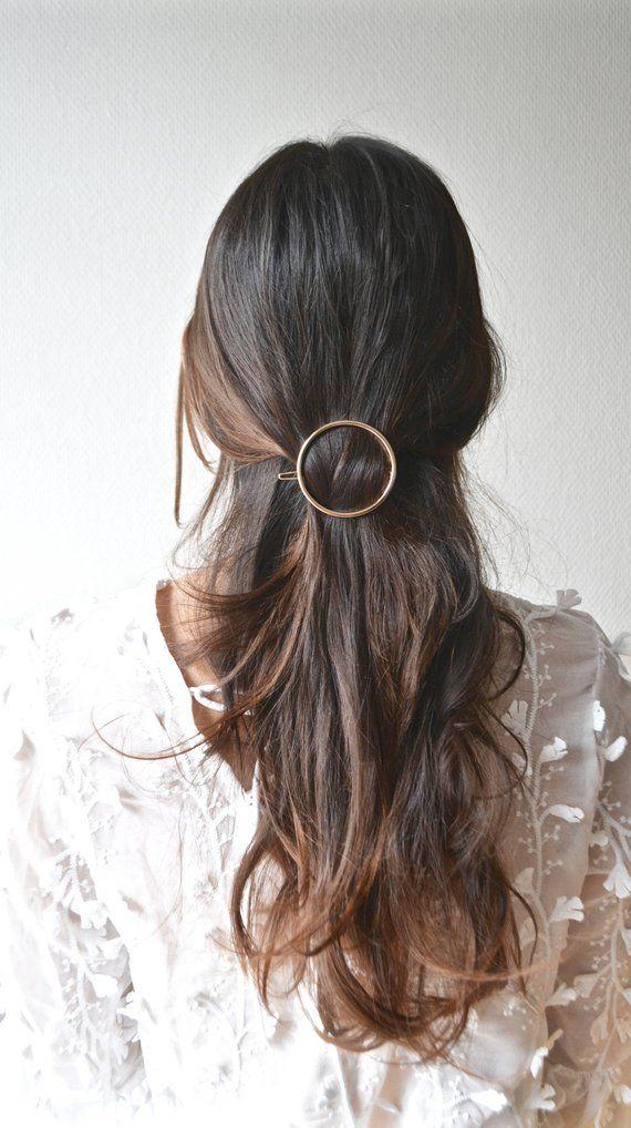 Minimalist bar ring. Cute hair clip, gold, silver