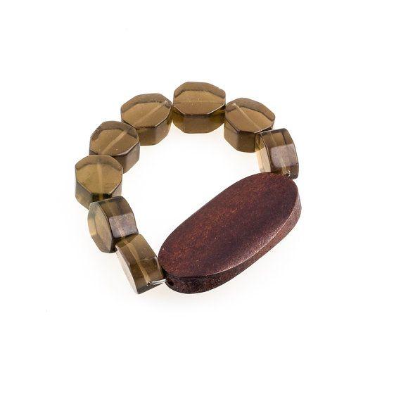 Missy Bracelet with wooden pendant by JewelsByCrys on Etsy, $20.00