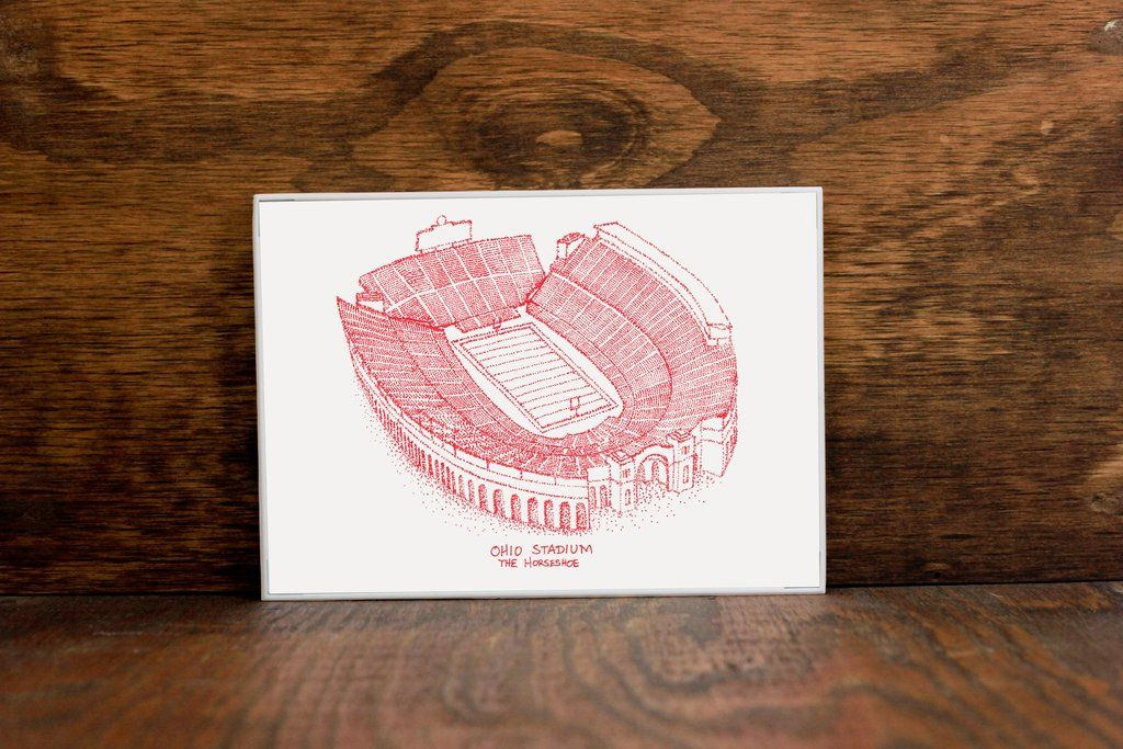 Ohio Stadium, Home of the Ohio State Buckeyes, Stipple Art Print #ohiostatebuckeyes