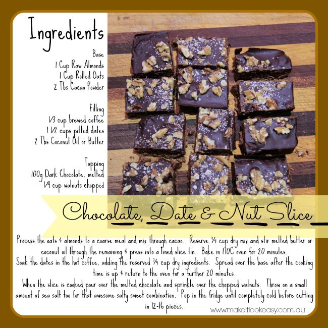 This Chocolate date and Nut slice has no added refined sugar and has the most amazing combination of textures. #chocolate https://www.facebook.com/makesitlookeasy