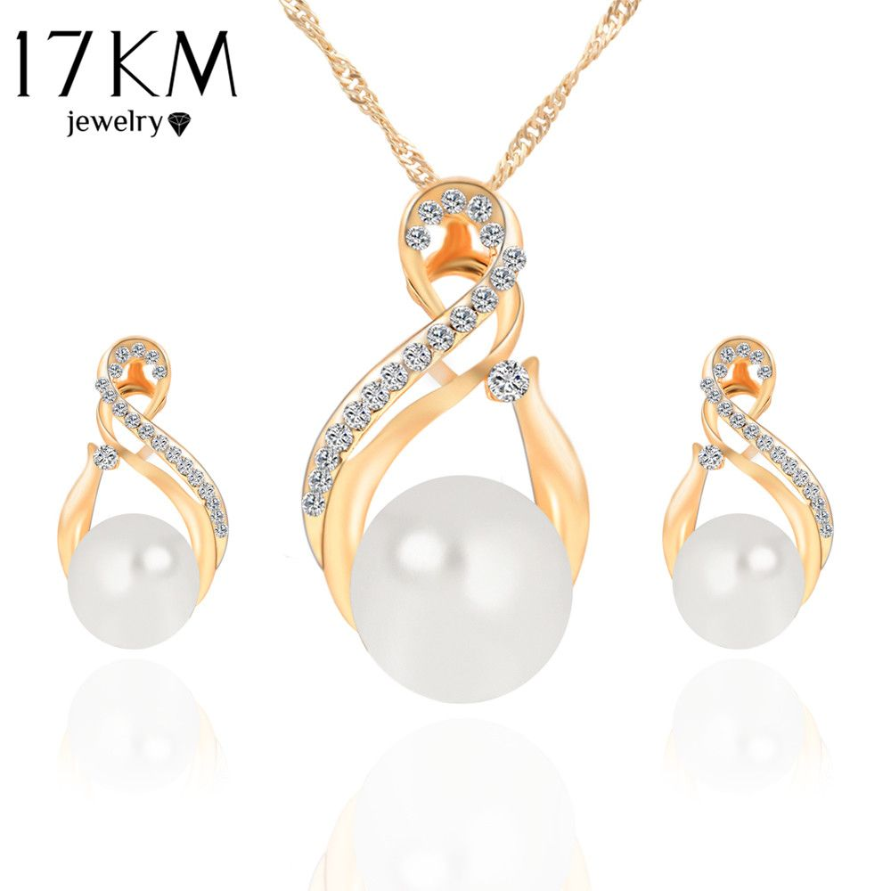 Km trendy jewelry sets wedding silver color earrings simulated