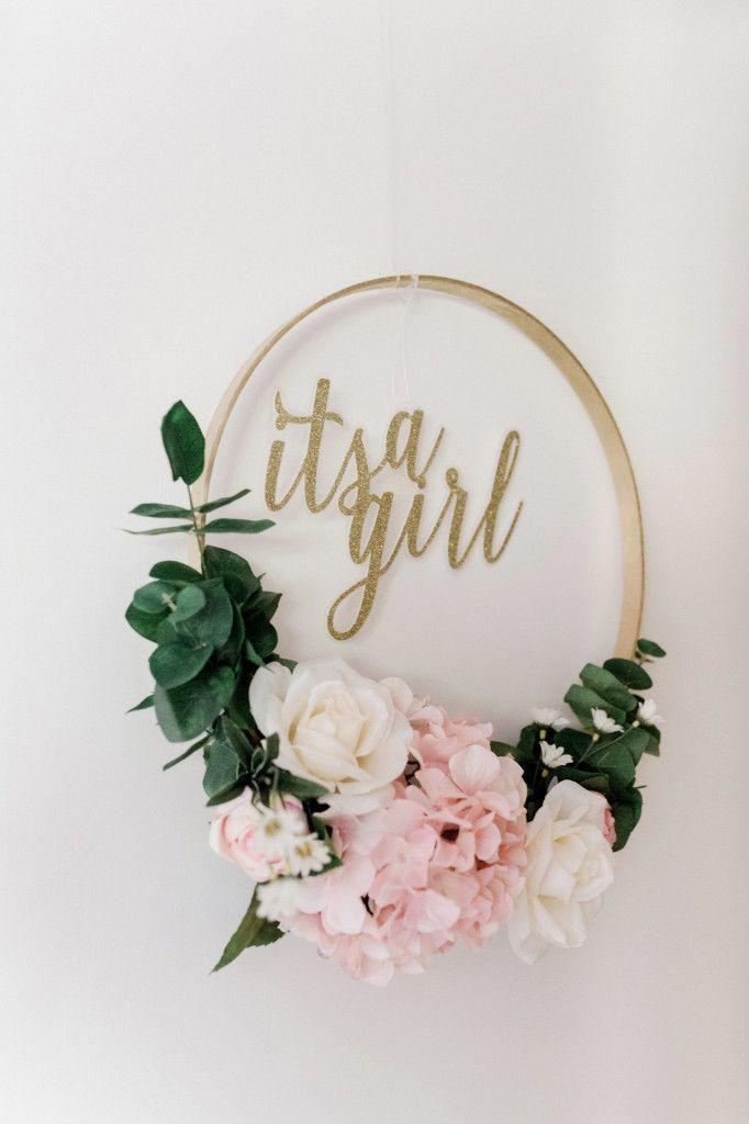 1a2de13e4 It's a Girl DIY Floral Embroidery Hoop Wreath Project Tutorial for Baby Girl  Nursery | Girl Nursery Decor