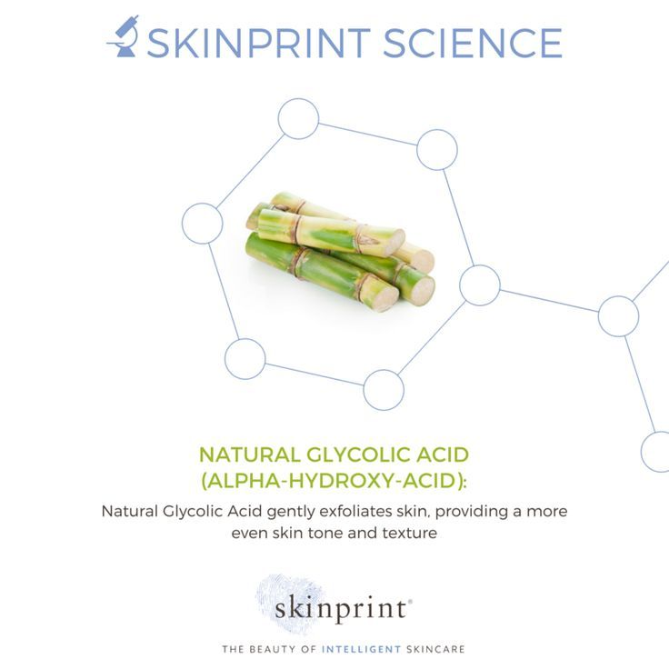 An ingredient derived from sugar cane that improves cell turnover and exfoliator resulting in smoother, more even skin. #SkinprintScience #naturallyintelligentskincare #skinprint #skincareingredients #naturalglycolicacid