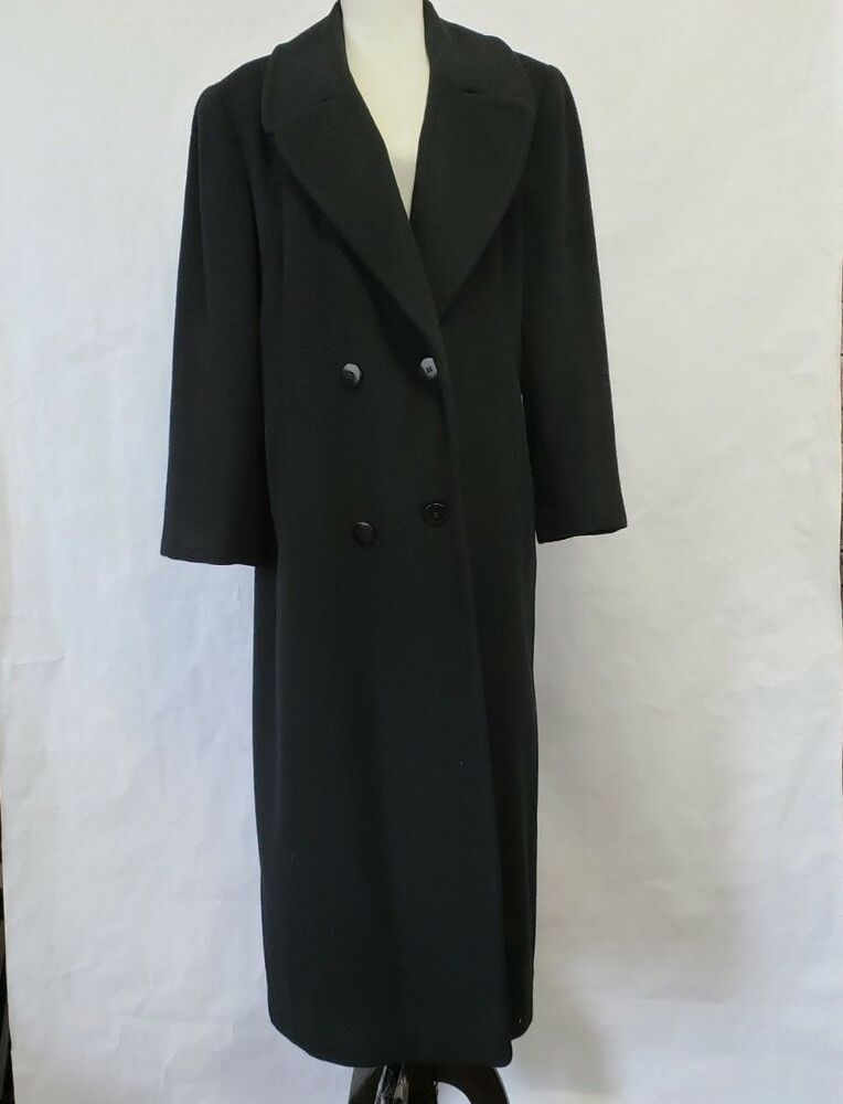 Women s Black Long Peacoat Winter Coat Size 8 double-breasted  Unbranded   Peacoat  Casual fe55d22a2