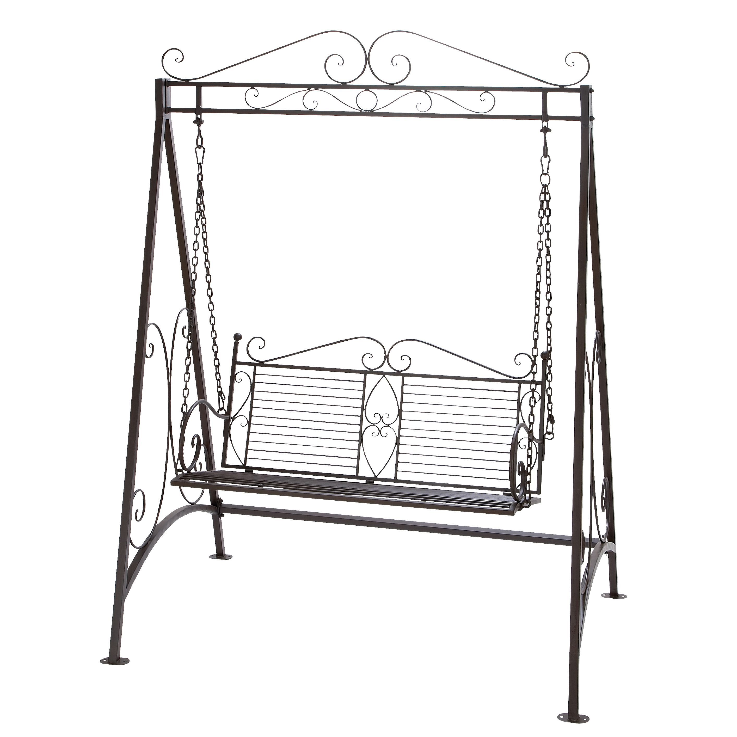 this beautiful metal garden swing adds a touch of charm to your