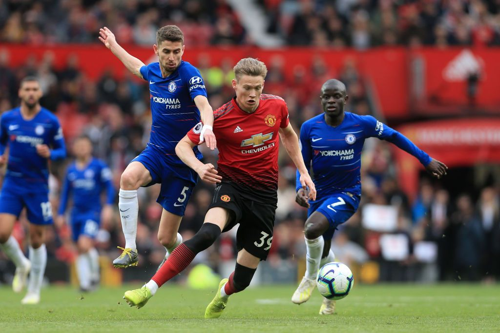 Scott Mctominay Of Man Utd Battles With Jorginho Of Chelsea And Ngolo Chelsea News Premier League Matches Chelsea