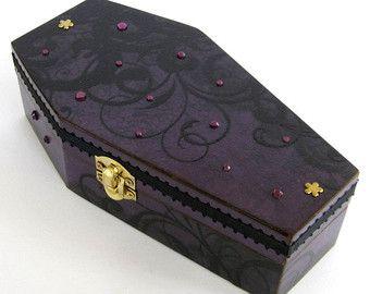 coffin box decoupaged halloween coffin box goth gothic black orange bats decoration decorated coffin swarovski crystal halloween decor
