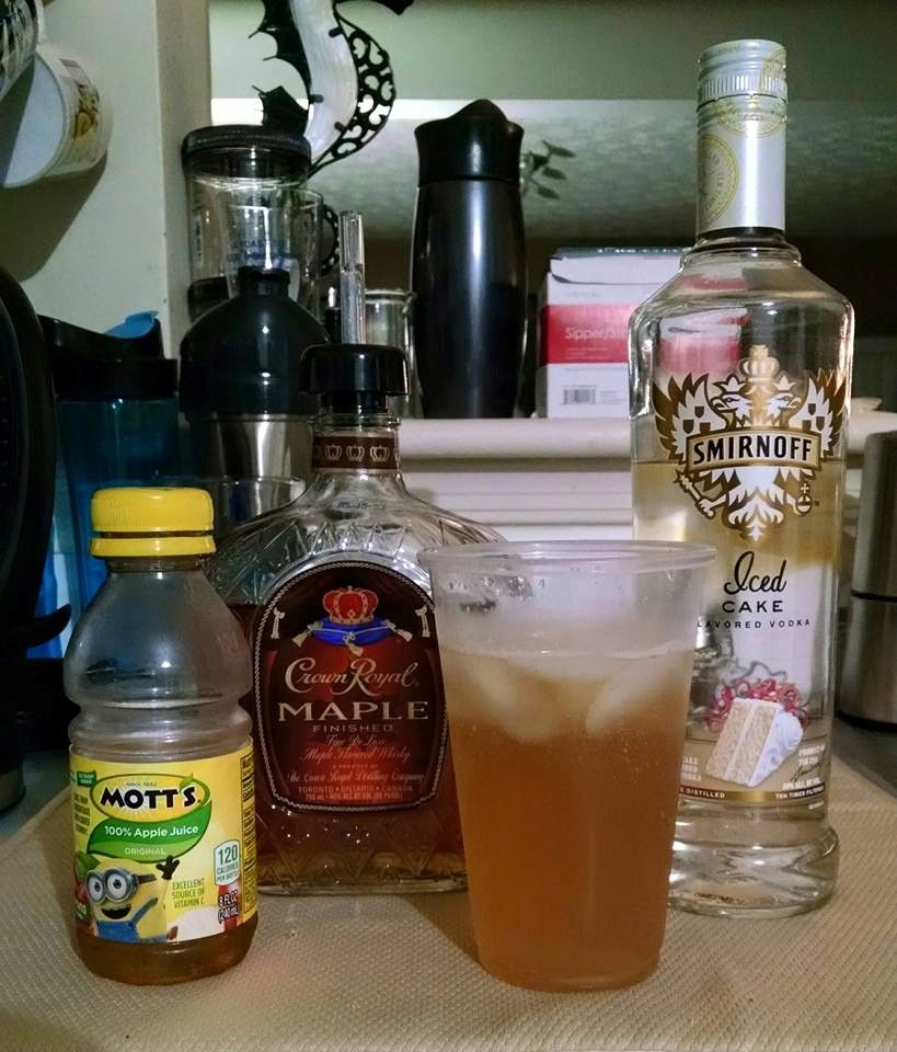 Apple Crisp -2oz Cake Vodka -3oz Crown Royal Maple -4oz